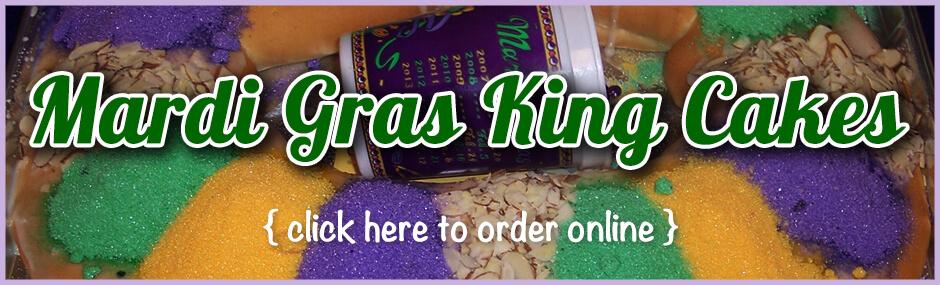 Image of a Mardi Gras king cake