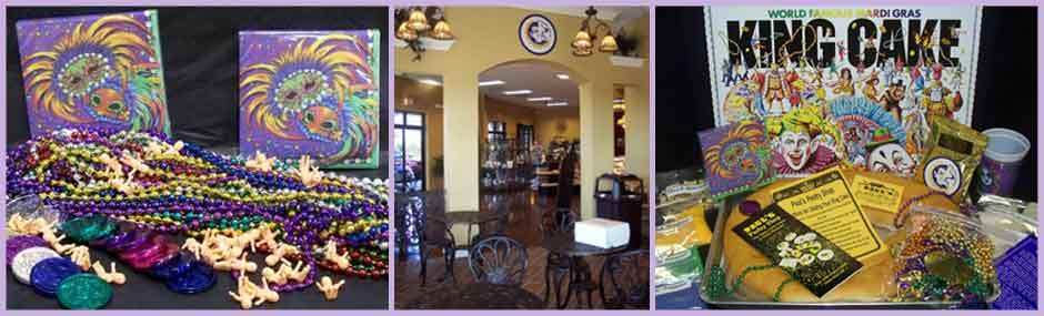 Image of Mardi Gras souvenirs and king cake package