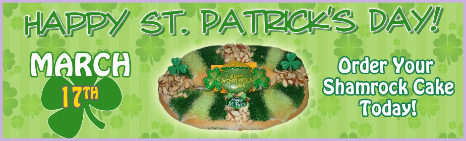 Image of a St. Patrick's Day king cake